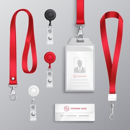 Los titulares de tarjetas de identificación de tarjeta de identificación profesional con cordones rojos y clips de correa plantillas realistas establecen ilustración de vector aislado