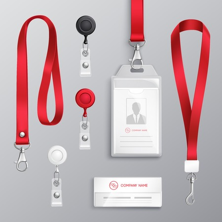 Professional identification card id badges holders with red lanyards and strap clips realistic templates set isolated vector illustration