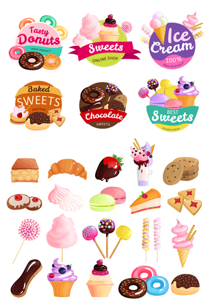 Illustration of sweets stickers icon set with donuts, ice cream and baked sweets Foto de archivo - 97879139