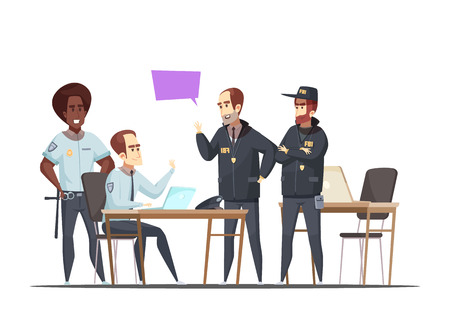 Police department design concept with employees on duty and visiting fbi officers  cartoon vector illustration Illusztráció