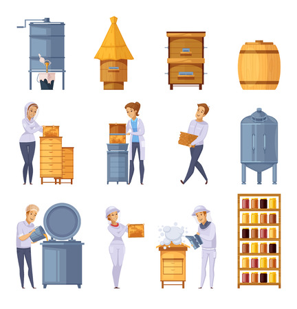 Apiary production cartoon icons set with beekeepers beehives honeycomb harvesting honey pitching and storage isolated vector illustration