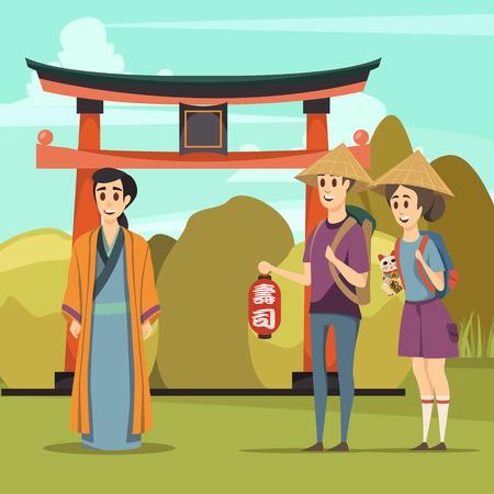 ゲート伝統的建築要素観光客と民族衣服ベクターイラストのネイティブと日本旅行直交組成物