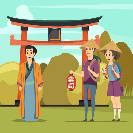 A Japan travel orthogonal composition with gate traditional architecture element tourists and native in ethnic garment vector illustration
