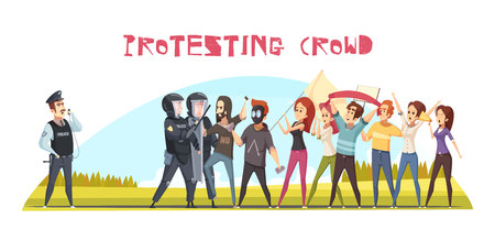 Protesting crowd poster with guards and group of people demonstrating