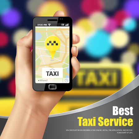Taxi service mobile application with transport symbols realistic  vector illustration