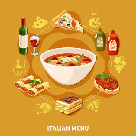 Italian menu with stuffed cannelloni, soup, pasta, pizza and ravioli