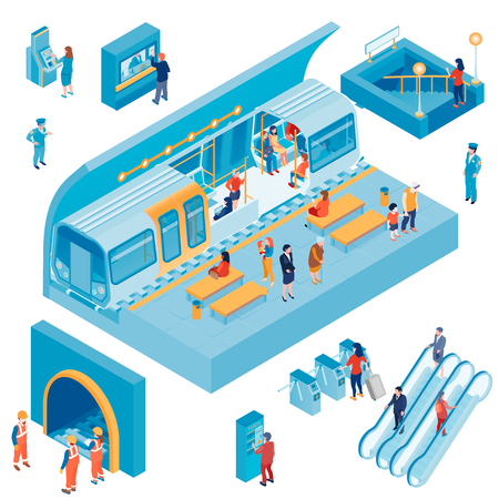 Isometric set with passengers and workers at underground metro station isolated on white background 3d vector illustration