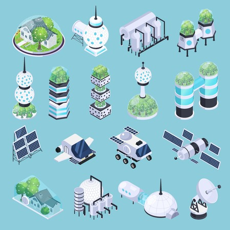 Space colonization terraforming isometric icons set with isolated images of rover vehicles satellites and modular ground buildings vector illustration