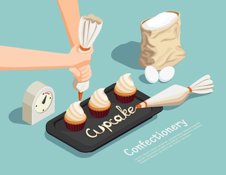 Confectionery chef isometric concept with cupcake and cream symbols vector illustration Stock Vector - 98019422