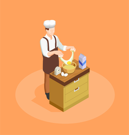 Confectionery and bakery chef with ingredients and pastry symbols isometric vector illustration