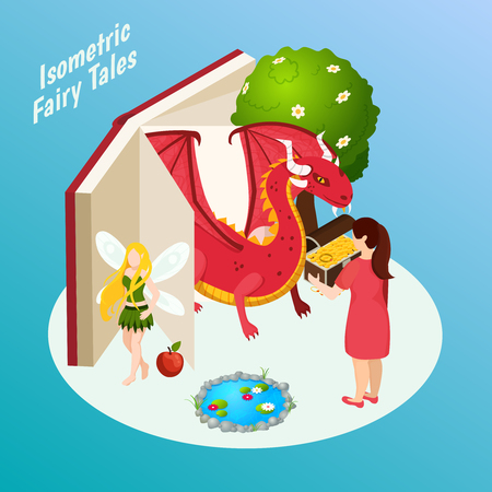 Fairy tales isometric composition on blue background with open book, fabulous characters, treasure chest vector illustration