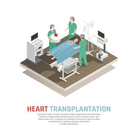 Process of human heart transplantation operation isometric composition 3d vector illustration