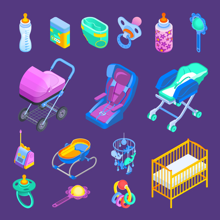 Newborn baby accessories isometric set with rocker crib bottle dummy pram stroller car seat isolated vector illustration