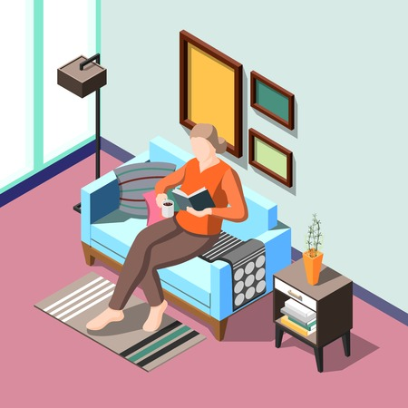Daily routine isometric background with female character reading book in home interior vector illustration Illusztráció