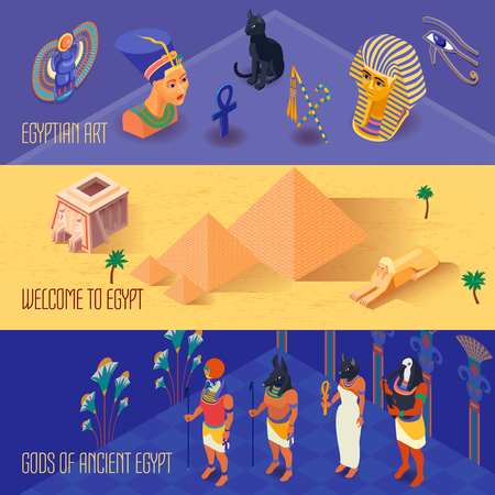 Isometric horizontal banners set with ancient egyptian gods and art 3d isolated vector illustration