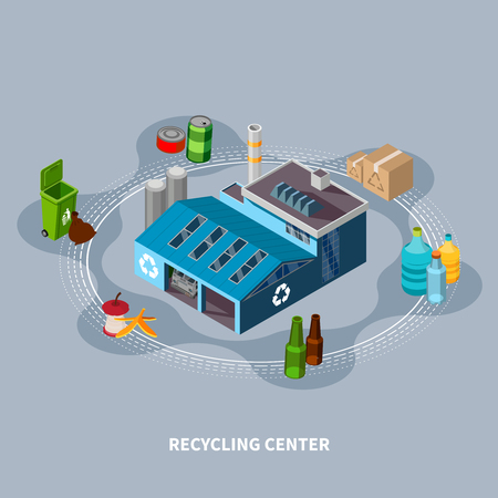 Garbage isometric composition with isolated images of various household waste trash bins and recycling centre building vector illustration