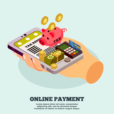 Het online concept van het betalings isometrische ontwerp met smartphone van de menselijke handholding met belastingrapport app op het scherm vectorillustratie
