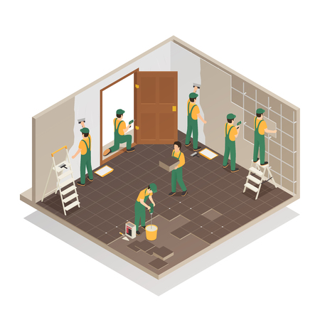 Home renovation repair isometric composition with professional workers team tiling floor and walls in room vector illustration