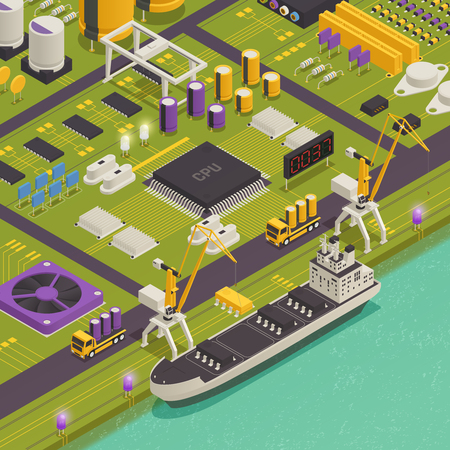 Semiconductor electronic components assembled on printed circuit board as harbor freight barge vessel isometric composition vector illustration
