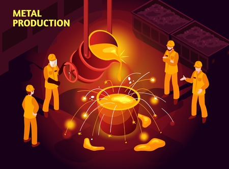 Metal production isometric poster with steel makers in foundry pouring molten cast iron in mold vector illustration