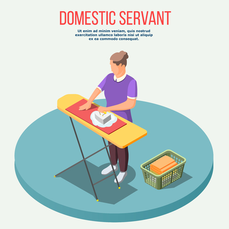Housemaid isometric composition with woman during ironing and basket with clothing on blue platform vector illustration