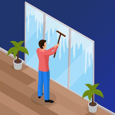 스퀴지 와이퍼 벡터 일러스트와 함께 남자 세척 창 봄 철저한 집 청소 작품 아이소 메트릭 배경 포스터