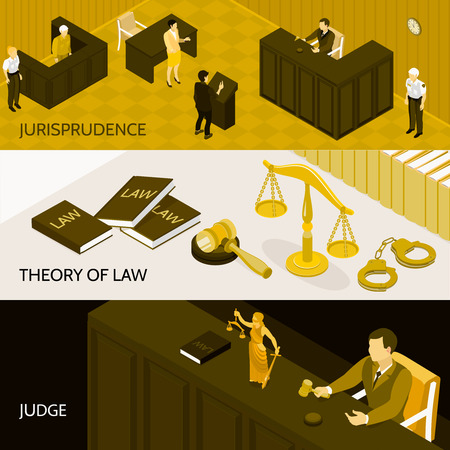 Isometric set of three horizontal banners with theory of law books court room and judge 3d isolated vector illustration