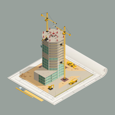 Skyscraper construction completion isometric composition on architectural technical drawing with tower cranes and yellow machinery vector illustration