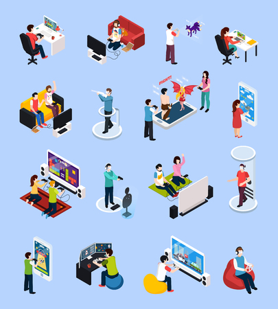 Set of isometric gamers with controllers near monitors and with mobile devices, isolated vector illustration
