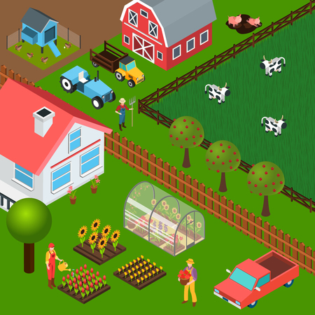 Isometric background with different farm buildings farmers working in garden and grazing cattle 3d vector illustration Illustration