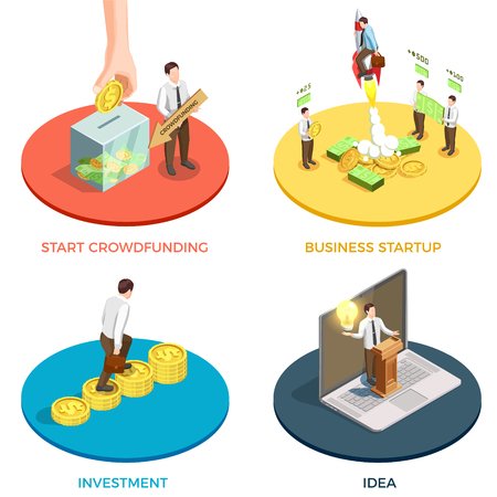 Crowdfunding  concept isometric icons set with investment and ideas symbols isolated vector illustration