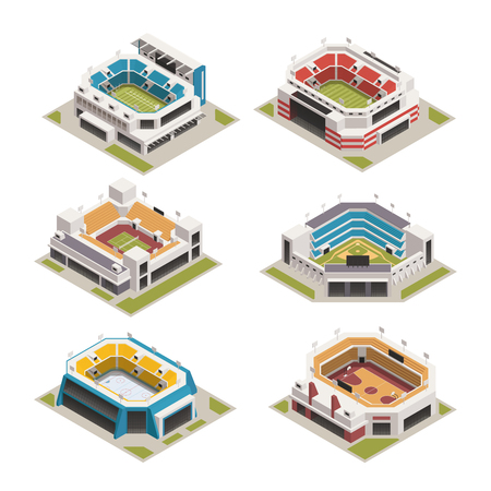 Worlds famous biggest sport competitions stadiums arenas and basketball court buildings isometric icons set isolated vector illustration  Ilustrace