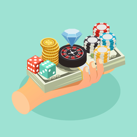 Casino isometric background with human hand holding accessories of gambling games on bundle of banknotes vector illustration