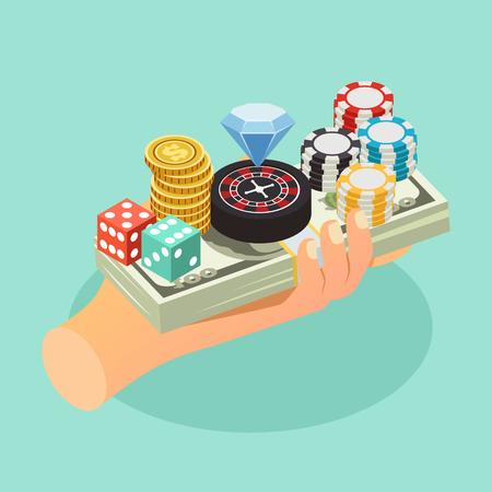 Casino isometrische Hintergrund mit menschlicher Hand hält Zubehör von Glücksspiel-Chips auf Bündel von Banknoten Vektor-Illustration