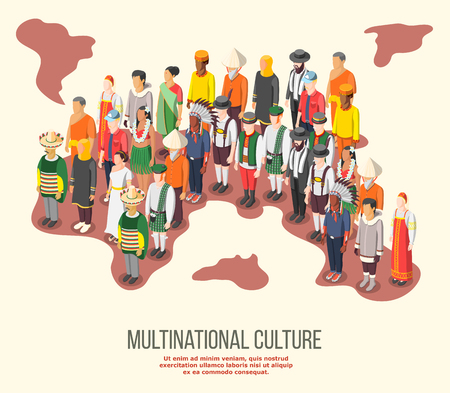 Multinational culture isometric composition with people of different races and nationalities in folk costumes vector illustration