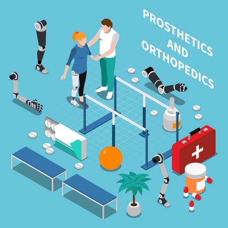 Prosthetics and orthopedics  composition with medicine symbols on blue background isometric vector illustration