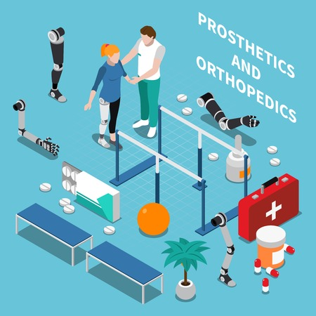 Prosthetics and orthopedics  composition with medicine symbols on blue background isometric vector illustration
