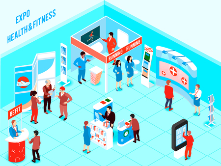 People visiting health and fitness expo with promotional stands and various products for healthy lifestyle 3d isometric vector illustration