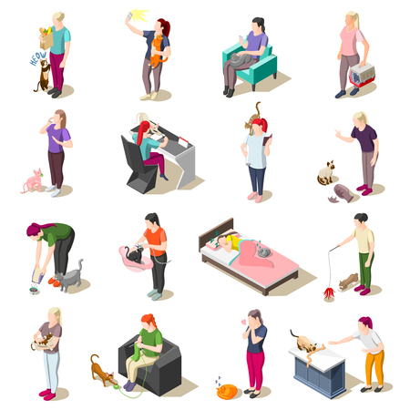 Ordinary life of man and his cat set of isometric icons isolated vector illustration Illustration