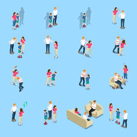 Concept de problèmes de famille icônes isométriques illustration vectorielle ensemble Banque d'images - 98198804
