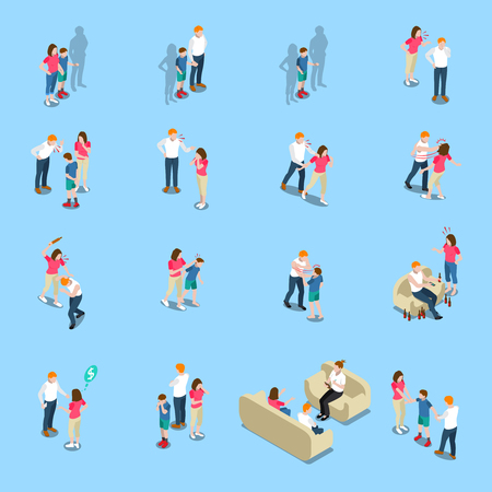 Family problem concept isometric icons vector illustration set