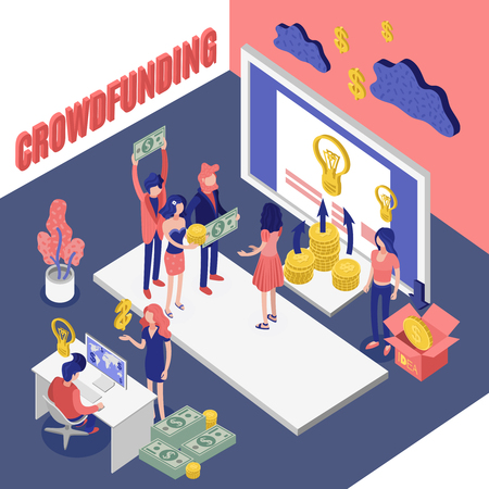 Isometric crowdfunding conceptual composition with investors meeting cloud computing images idea and money pictograms with text vector illustration