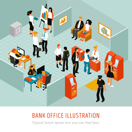 Bank office interior isomeric composition with atm machines financial analytics  customer advisers clients police officer vector illustration  Illustration