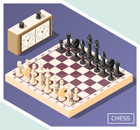 Chess isometric background with white and black figures on game board, control clock, vector illustration