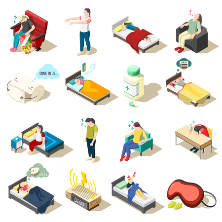 Set of isometric icons healthy night rest and sleep disorder, objects for good dream, isolated vector illustration  Illustration