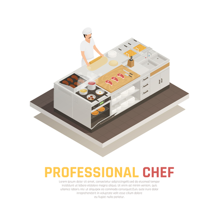 Professional chef rolling dough in restaurant kitchen isometric composition on white background 3d vector illustration Illustration