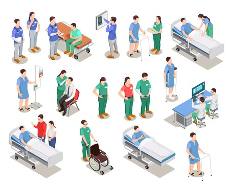 Set of isometric Hospital people isolated vector illustrations