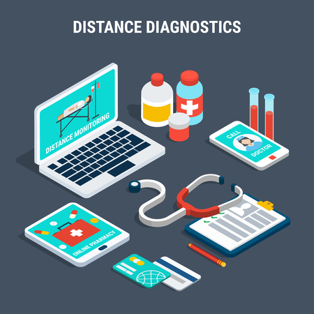 Isometric set with medical equipment for distance diagnostics isolated on grey background 3d vector illustration