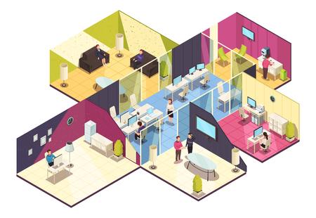 Izometryczny skład wnętrza centrum biznesowego na jednym piętrze z biurową konferencją komputerową i ilustracją wektorową pokoi dla pracowników