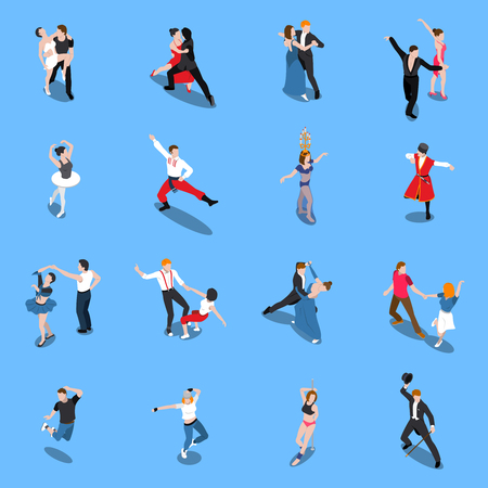 Single and partner dance poses Vettoriali
